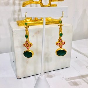 Jewelry - Gold Dangle Earrings w/ Pink and Green Stones